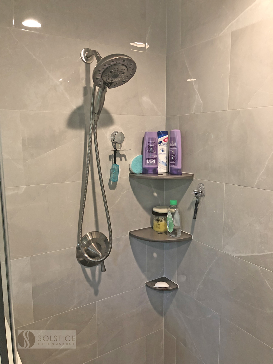 built in shower shelves