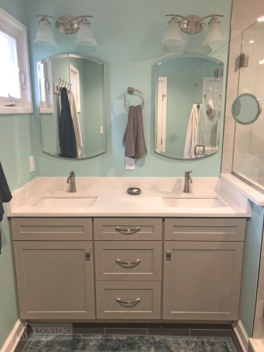 master bath design with two sink vanity